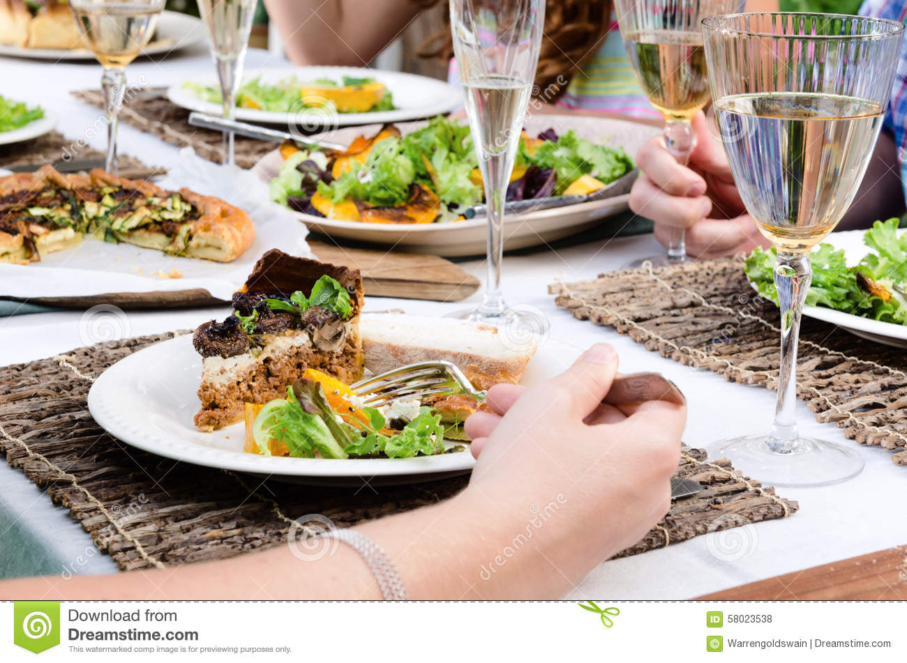 Outdoor Lunch Party Table Setting With Food Stock Photo