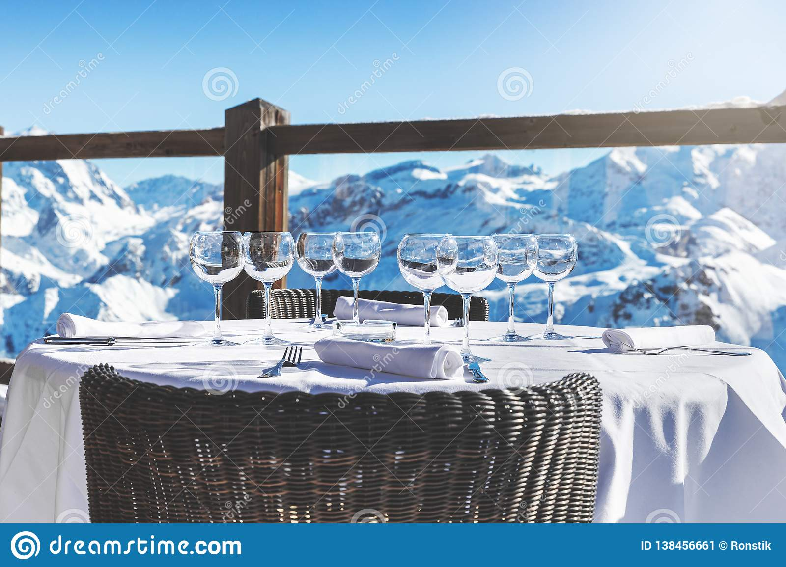 Outdoor Luxury Restaurant Table With Beautiful Mountain Landscape View Stock Image Image Of Scenic High 138456661