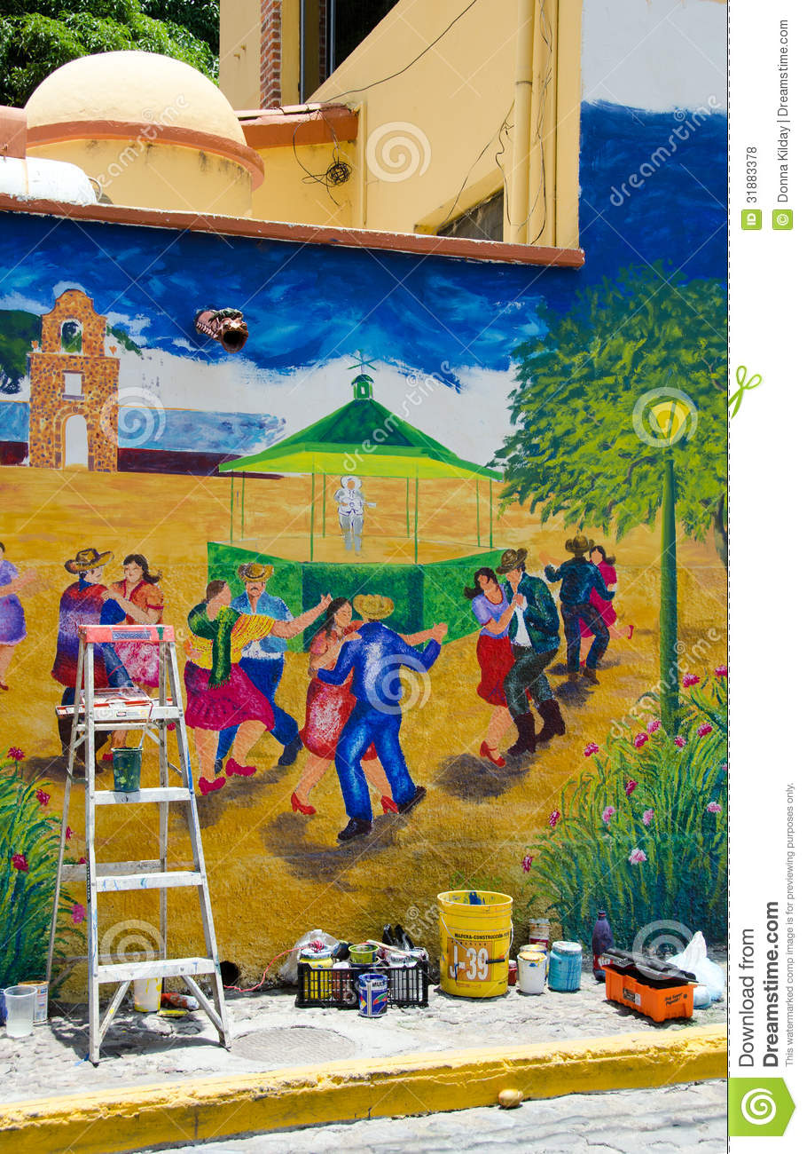 Outdoor mural painting in progress editorial stock photo for Exterior mural painting