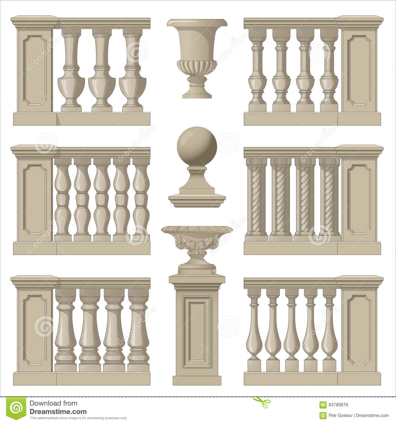 Outdoor And Park Elements Balustrade Decorative Vase