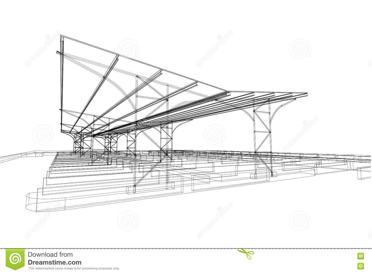 Outdoor parking structure abstract 3d illustration - Table de dessin architecte ...