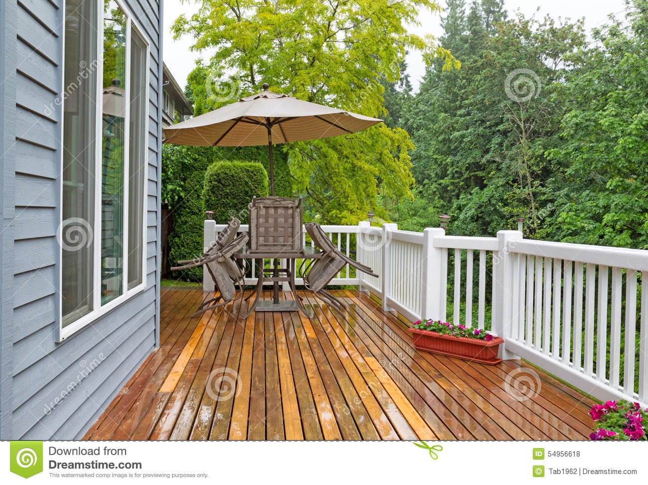 Outdoor Patio Closed Due To Heavy Rain Stock Photo Image Of Chairs Plants 54956618