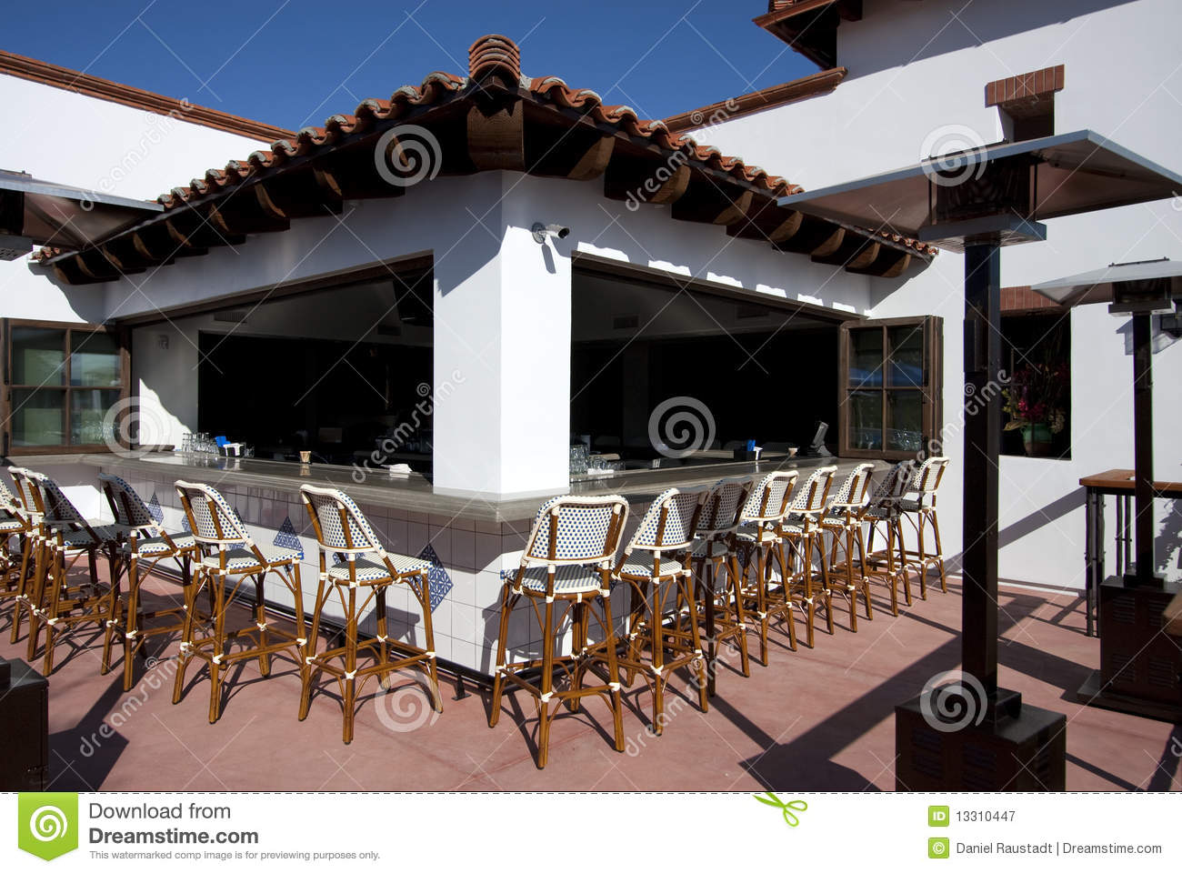 Outdoor patio cocktail restaurant bar royalty free stock for Balcony restaurant and bar