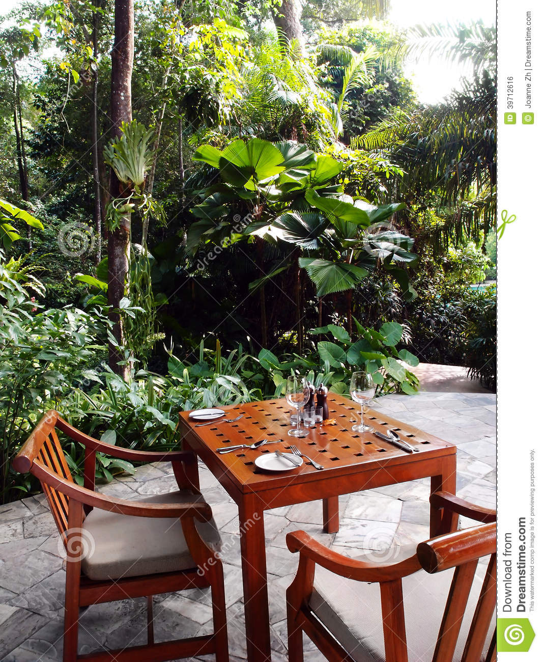 Outdoor Patio Dining Area Tropical Garden Stock Photo