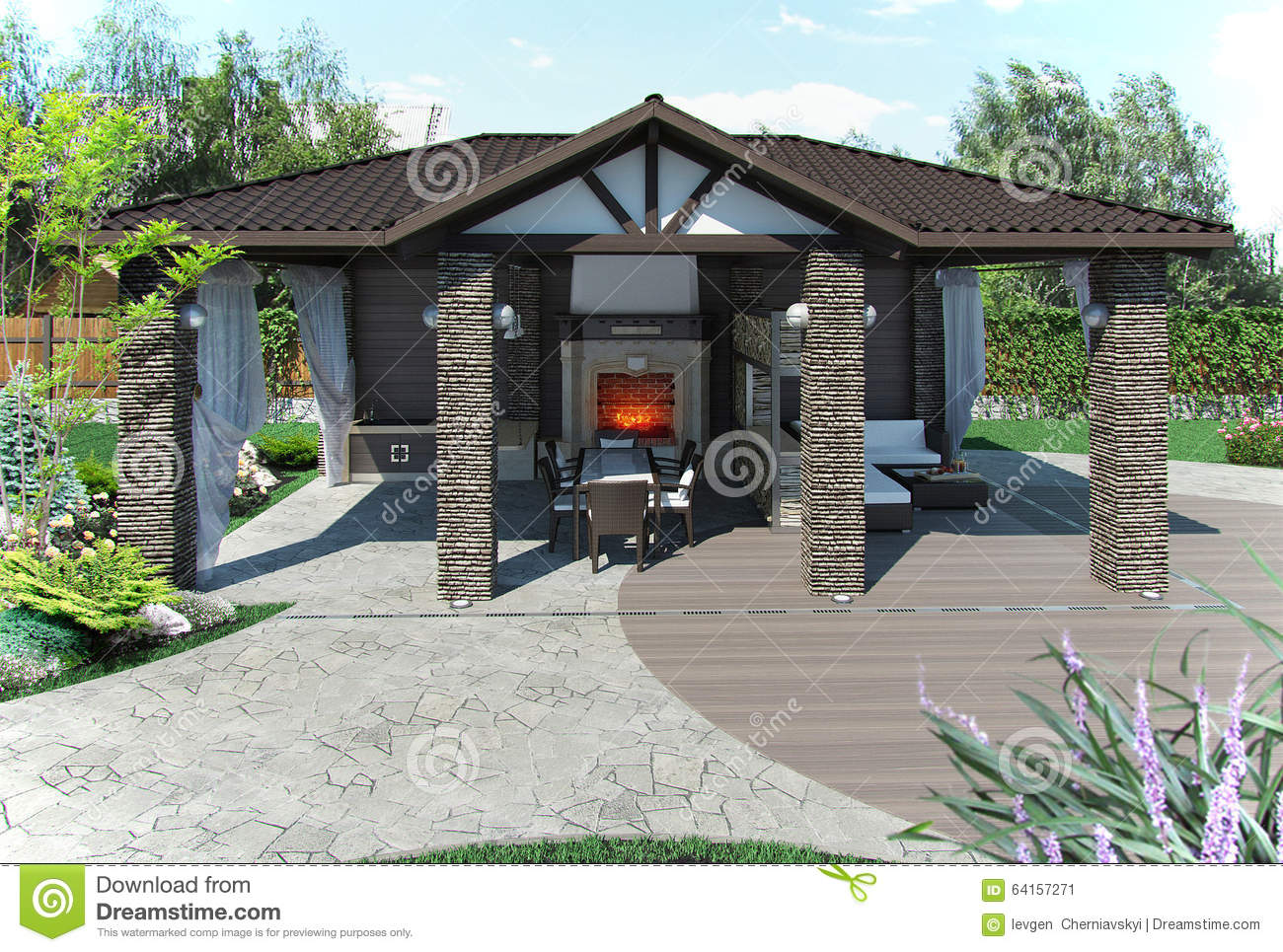 Outdoor Patio Garden Pavilion, 3d Render Stock ...