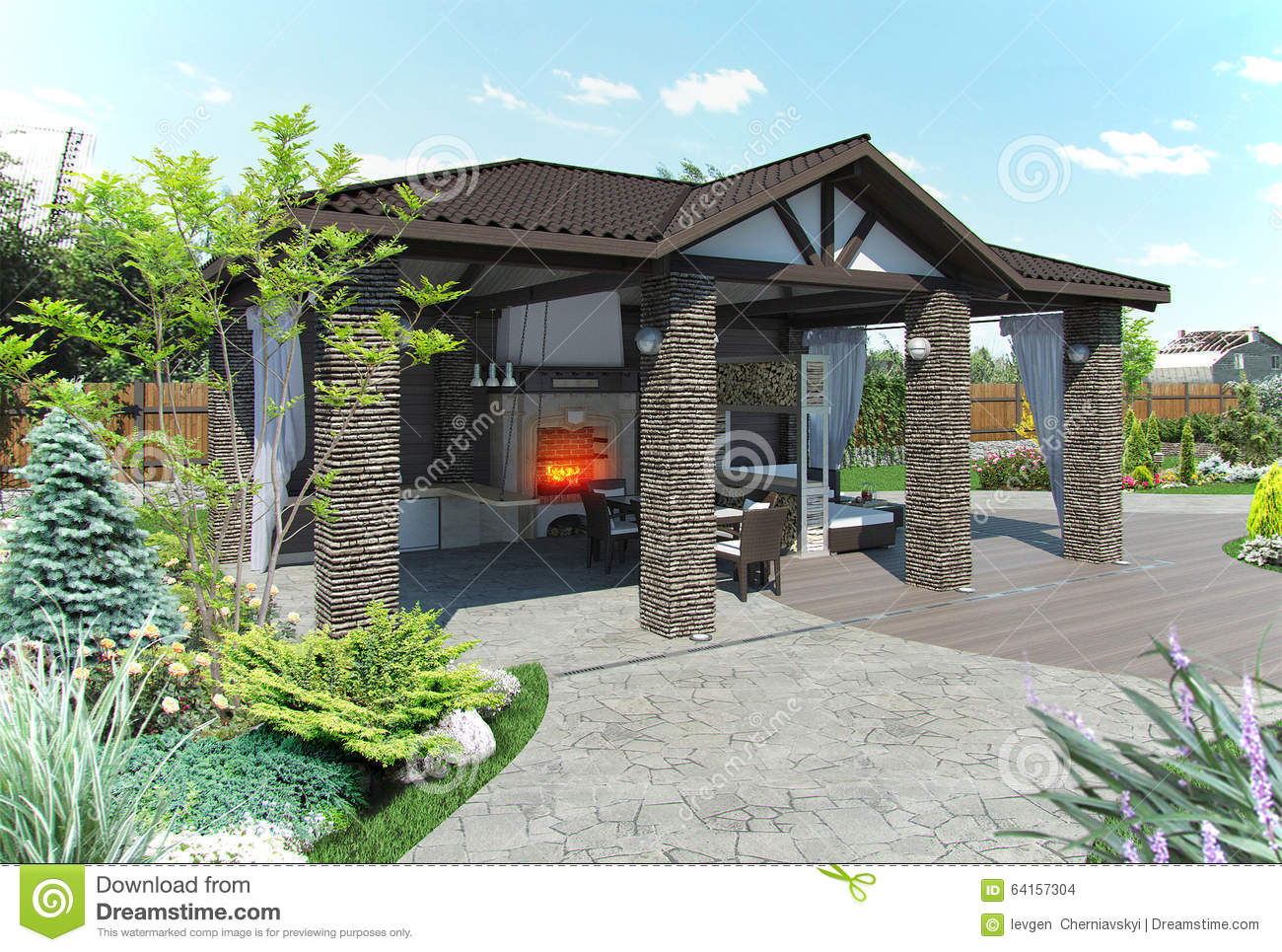 Example Of Extension To The Living Space Of Home. 3d Exterior With Complete  Lighting.