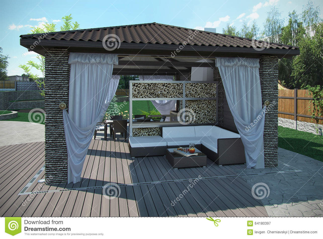 Outdoor patio garden pavilion 3d render stock for Exterieur 3d gratuit
