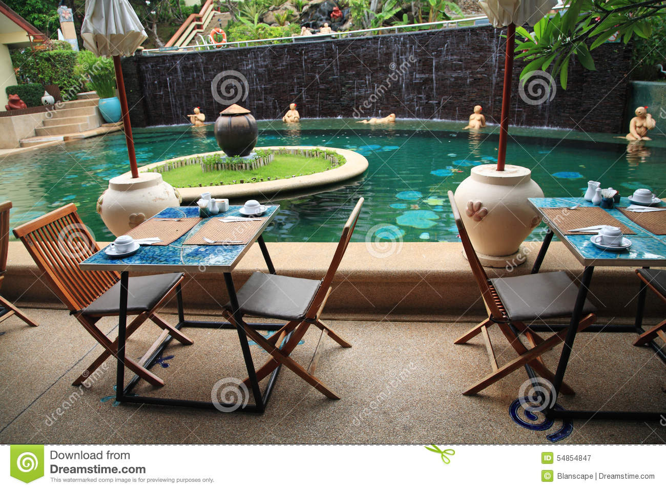 Outdoor Patio Near The Swimming Pool Stock Photo Image 54854847