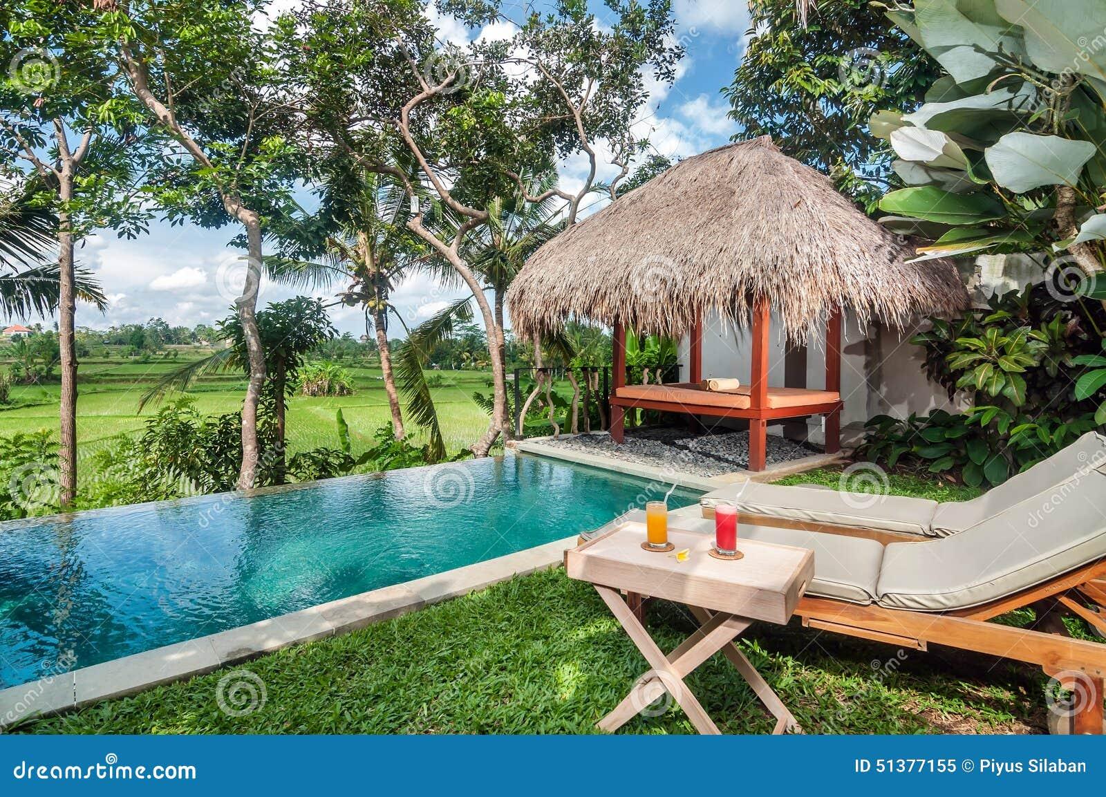 Outdoor Pool Area Of Luxury Bali Villa Stock Image Image Of Grass Leisure 51377155