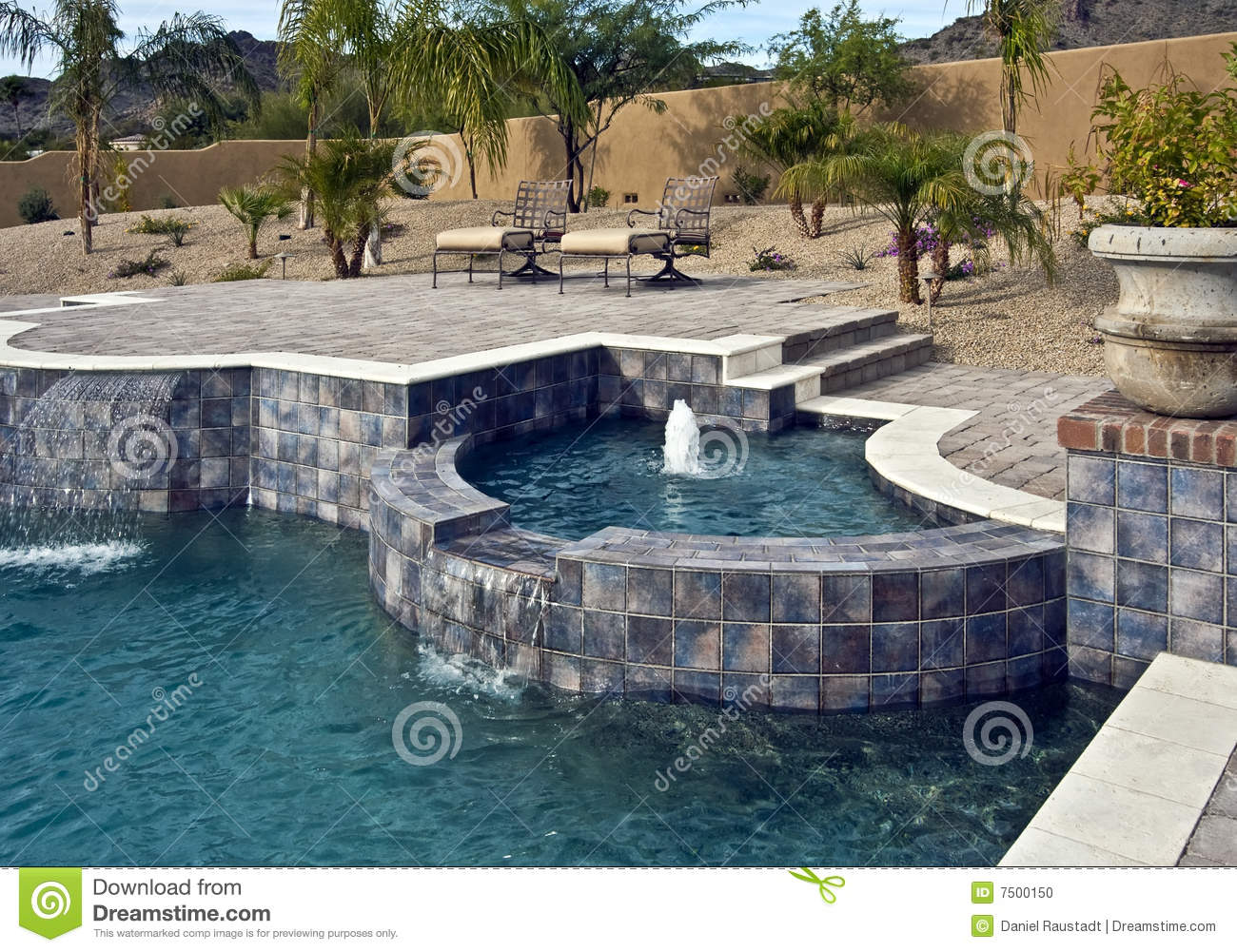 Outdoor Pool With Spa And Fountain Stock Photo Image