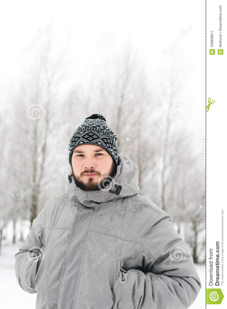 Beautiful Grey Waterproof Flooring Ideas For Living Room: A Man In A Gray Jacket In A Winter Forest Stock Image