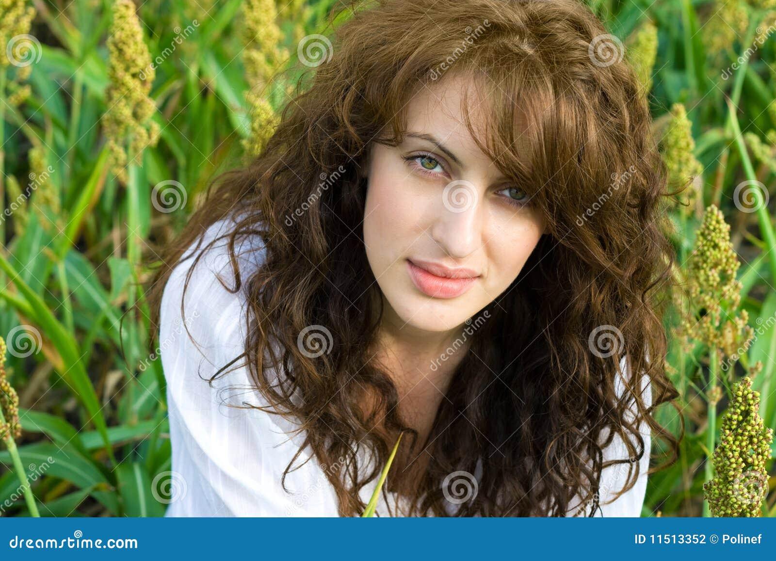 Outdoor Portrait Of Beautiful Woman In The Field Stock