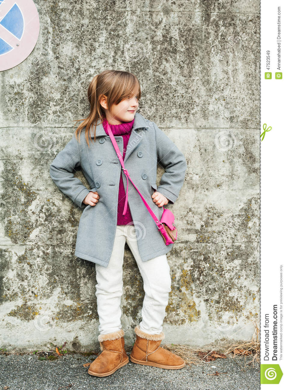 Beautiful Grey Waterproof Flooring Ideas For Living Room: Outdoor Portrait Of A Cute Little Girl Stock Image