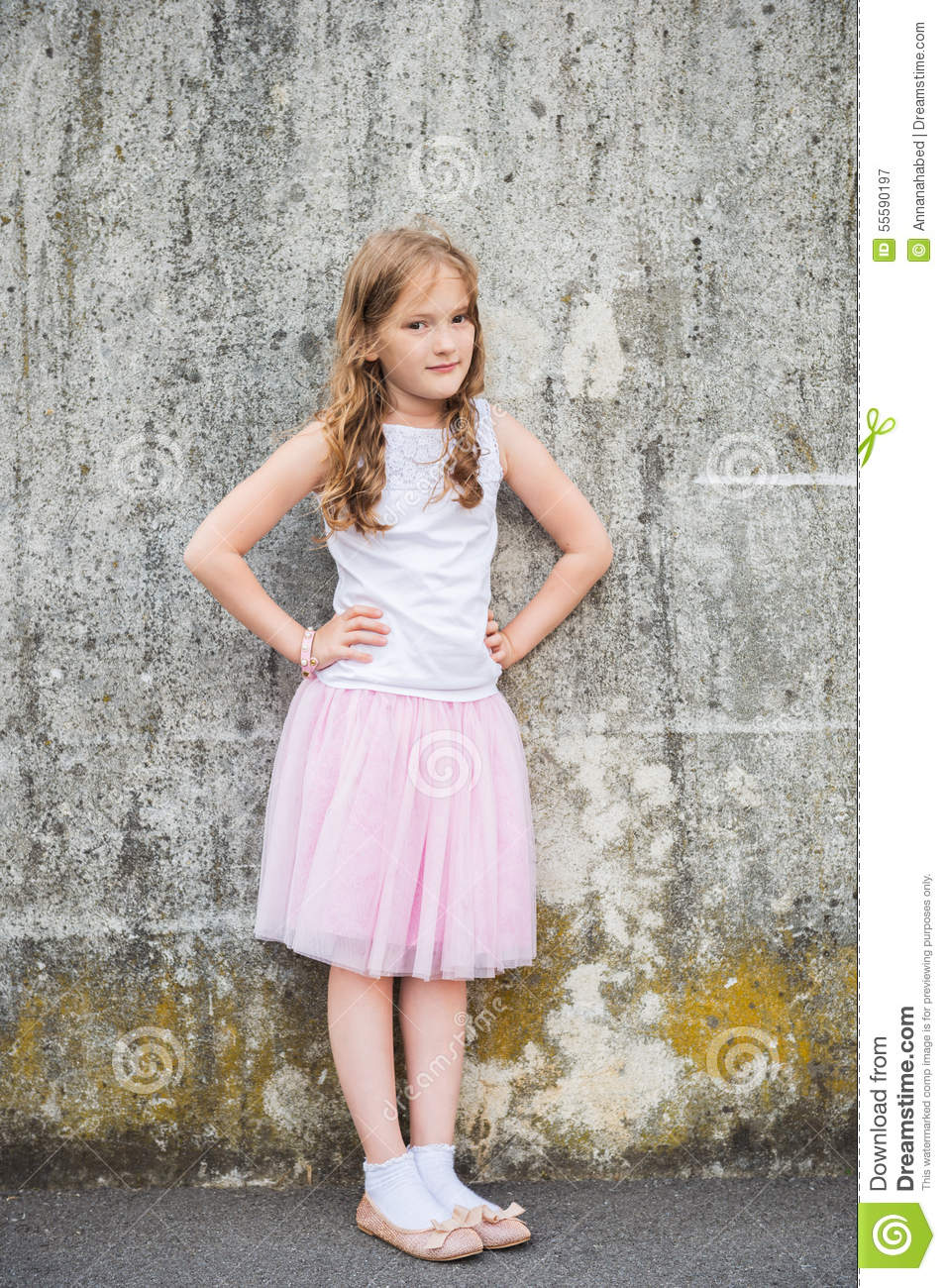 Gorgeous Young Woman Near Old Wall Stock Photo - Image of