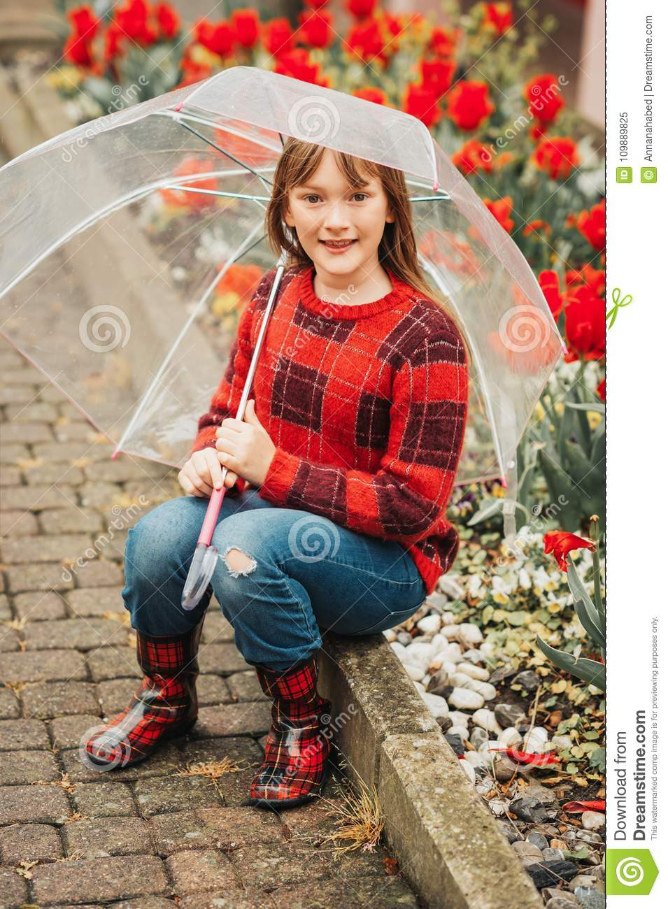 d9f53dab5 Outdoor Portrait Of A Cute Little 9 Year Old Girl Stock Image ...