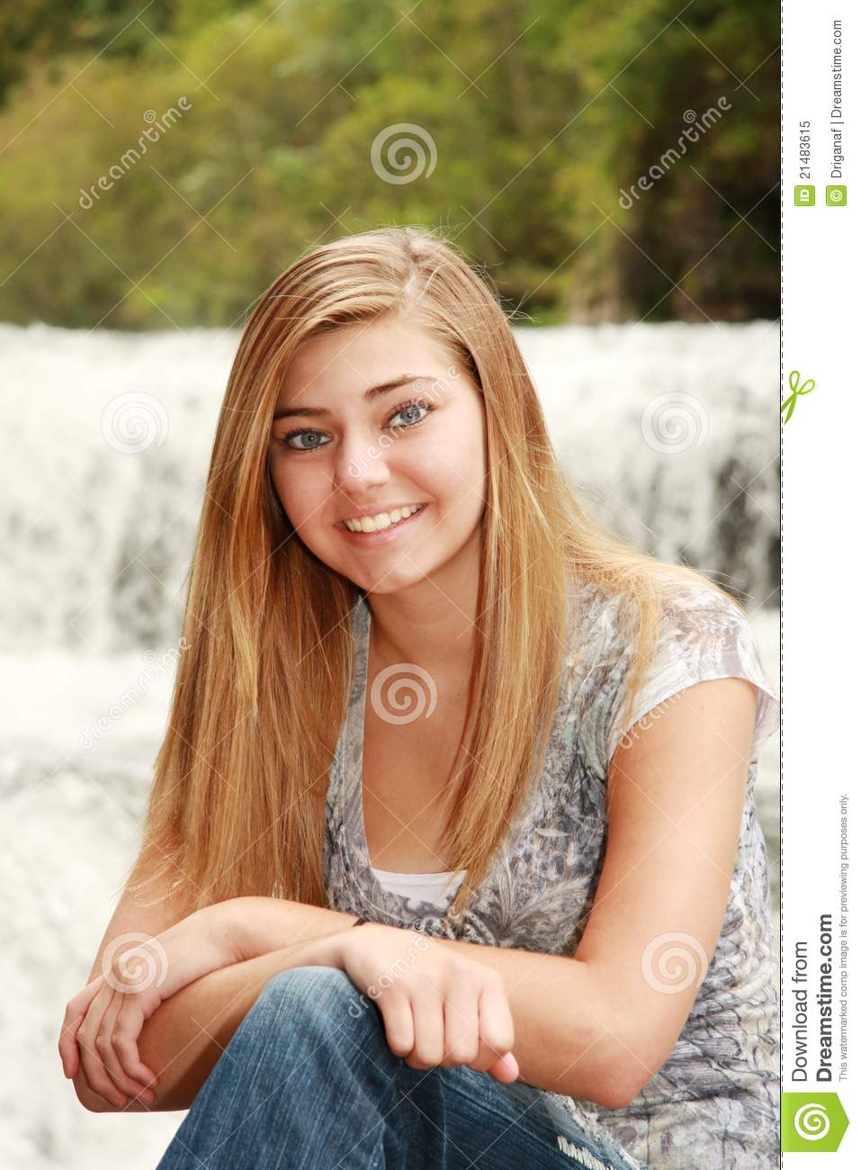 Outdoor Portrait Of A Pretty Blonde Girl Stock Image