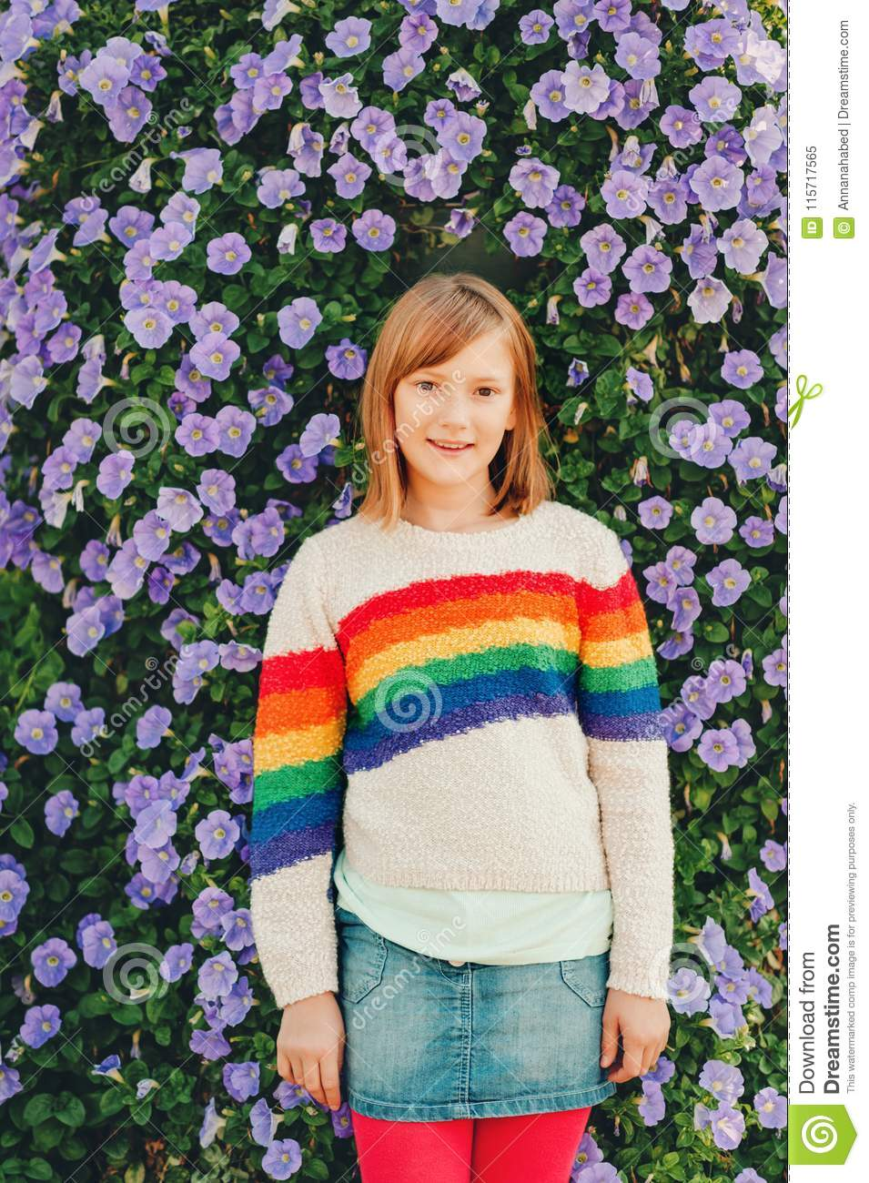 Outdoor Fashion Portrait Of Cute Preteen Girl Stock Image Image Of