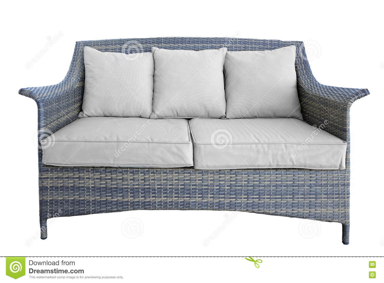 Outdoor Rattan Couch With Two Seat And Cushions White Isolated Stock Photo Image Of Dining Armrest 75365730
