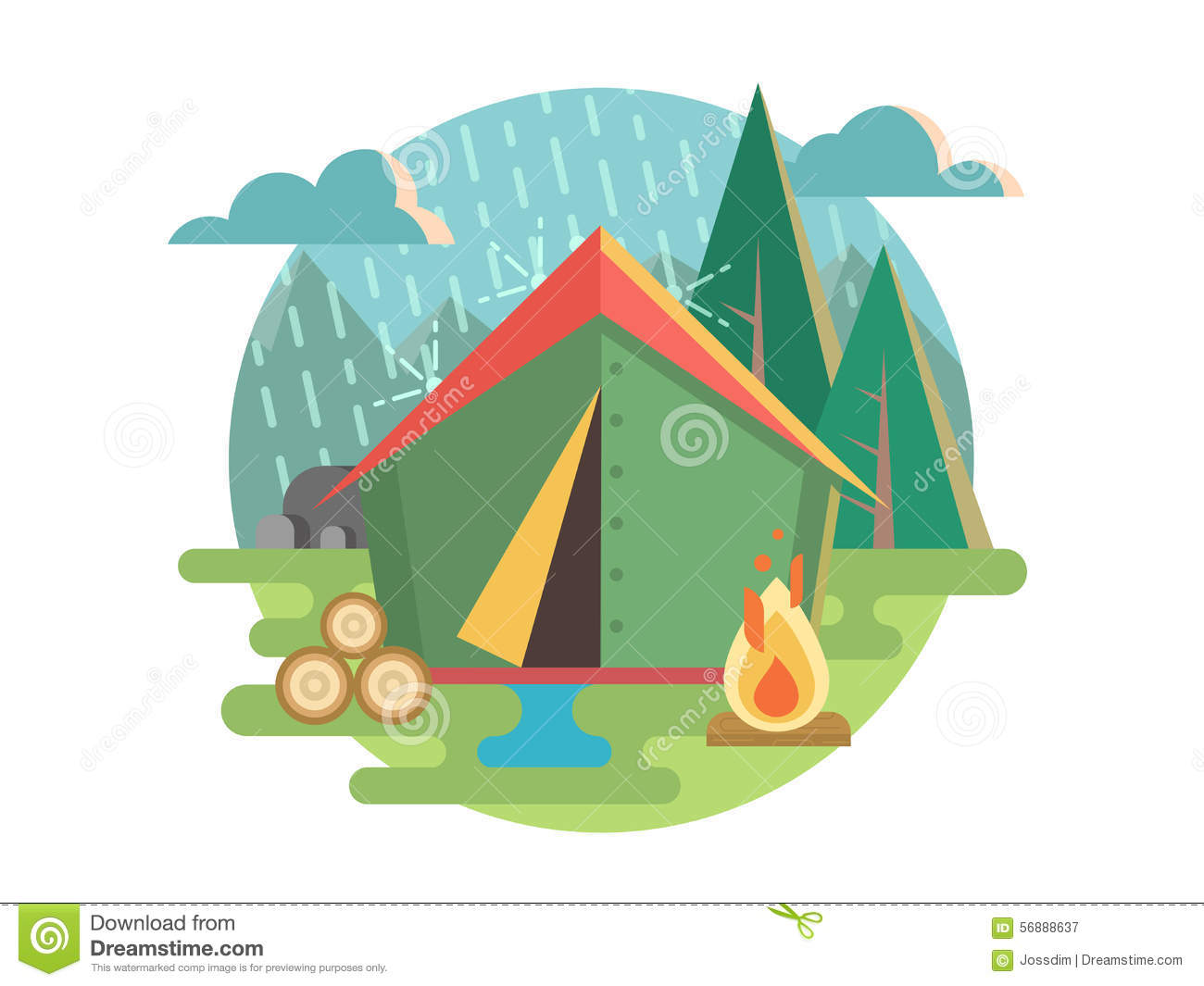 Camping Outdoor Activity Concept Backgrounds Cartoon ...