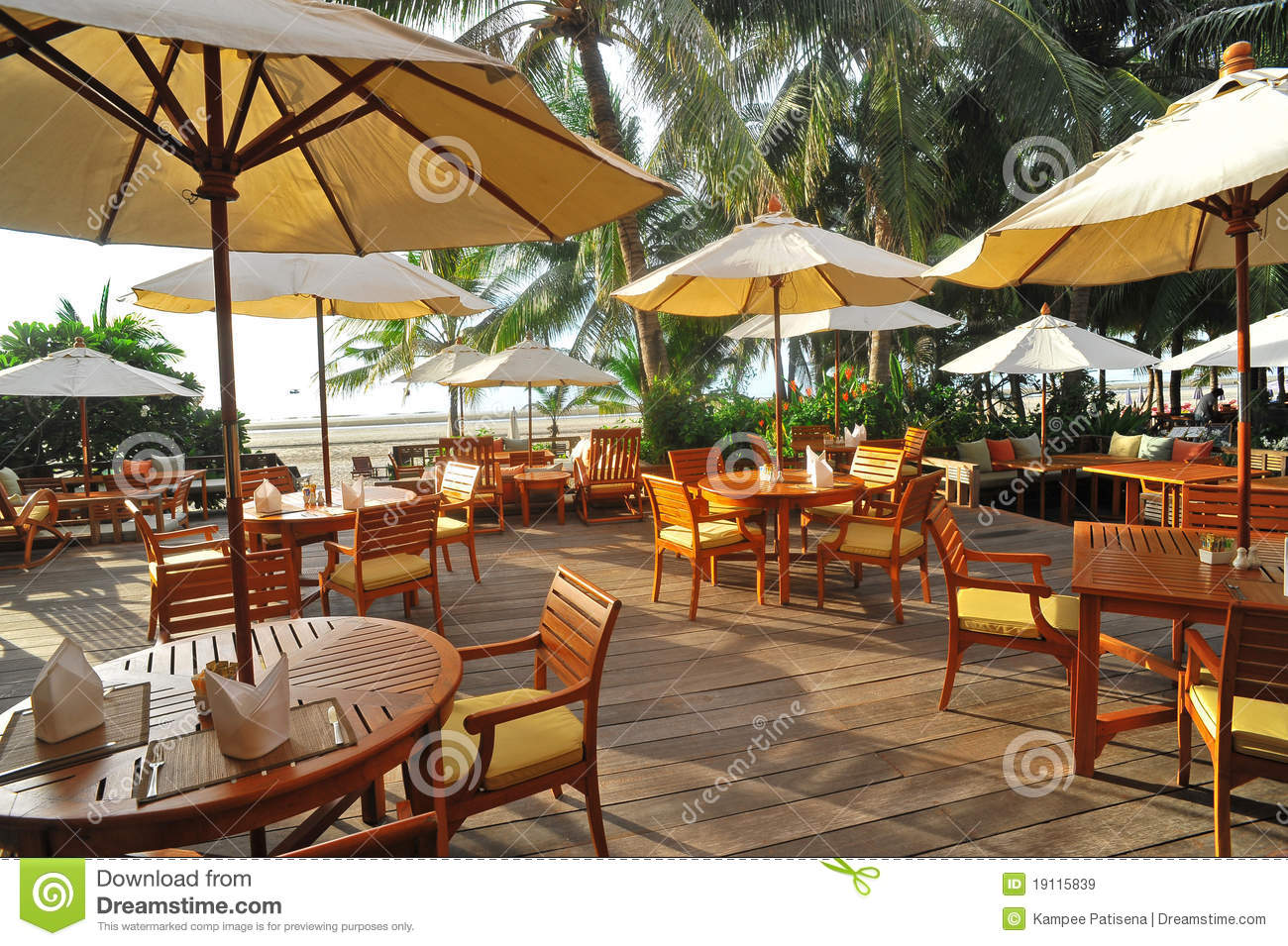 Outdoor restaurant at the beach thailand stock image