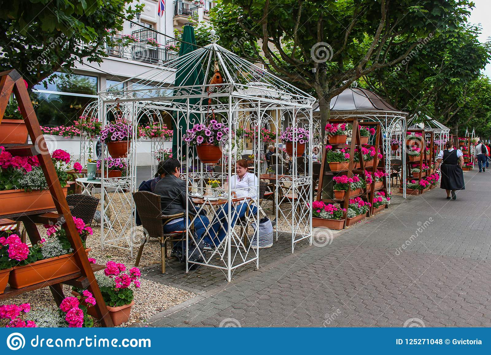 Outdoor Restaurant And Cafe Under Gazebos In Boppard Germany Editorial Stock Photo Image Of Ornate Happy 125271048