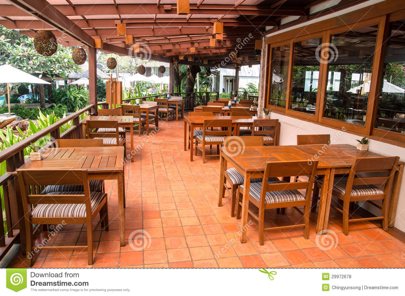 Outdoor restaurant interiour with wooden floor and