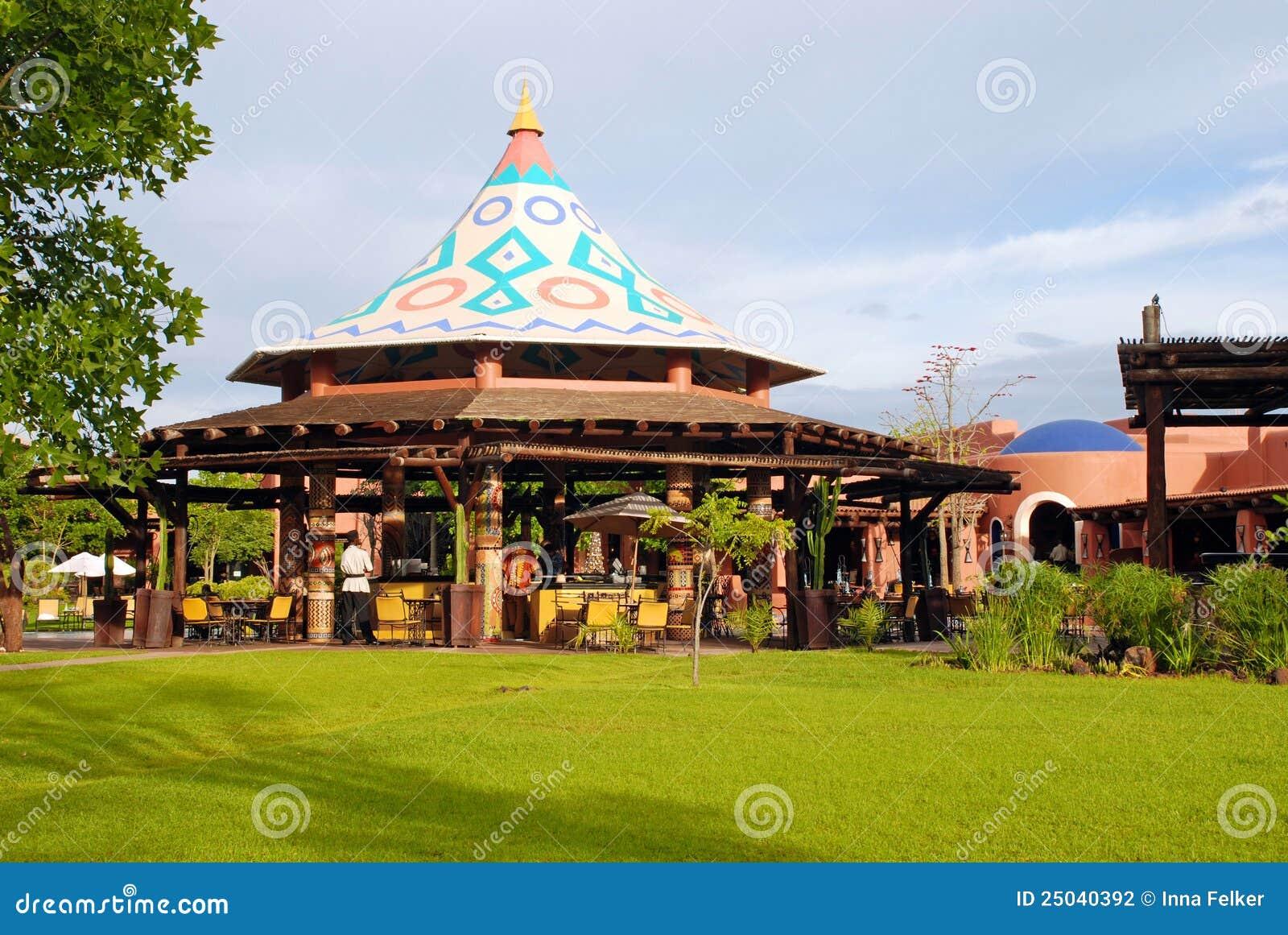Outdoor Restaurant In Resort Hotel Zambia Africa Stock