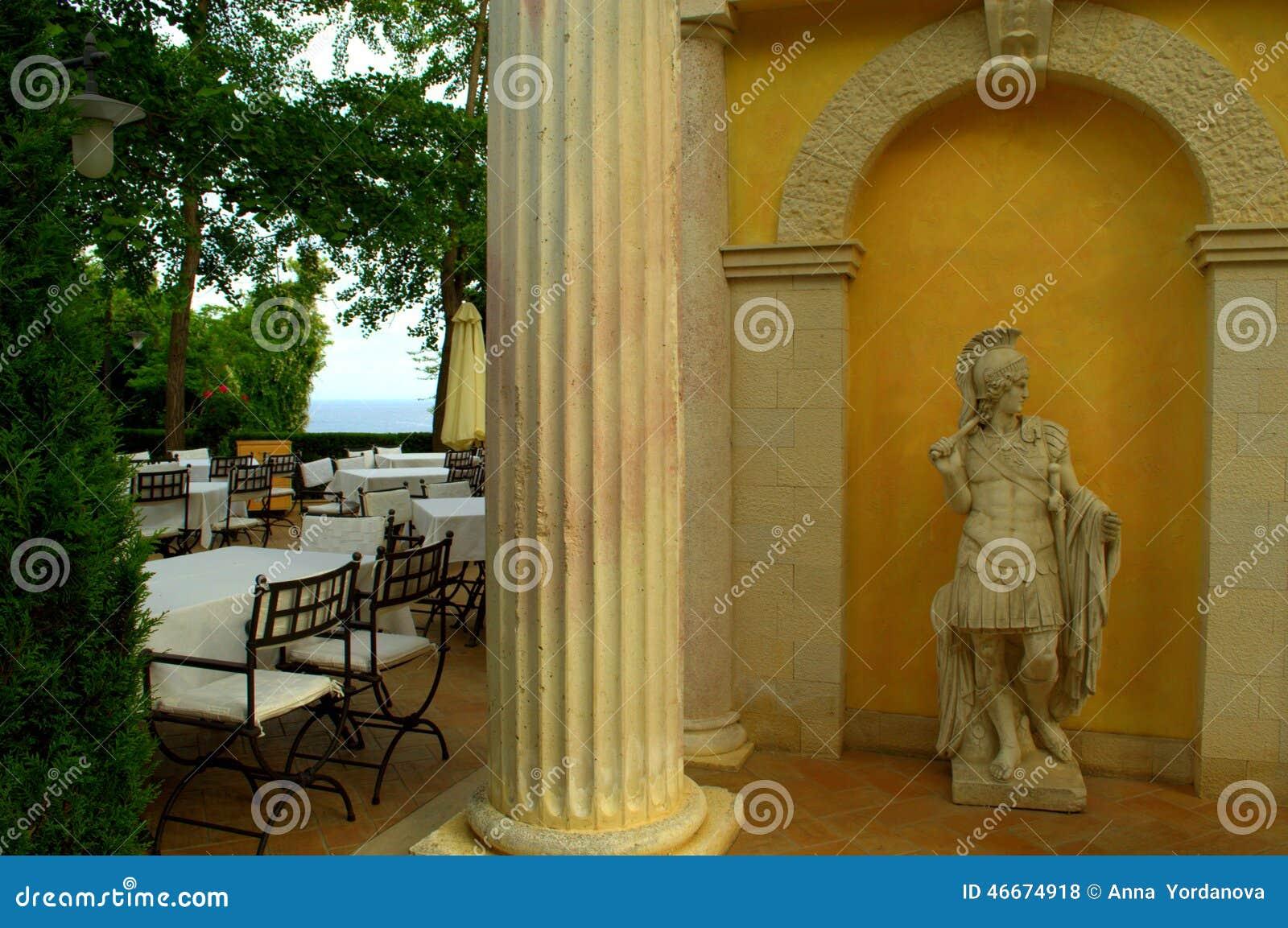 Outdoor restaurant statue decoration stock photo image