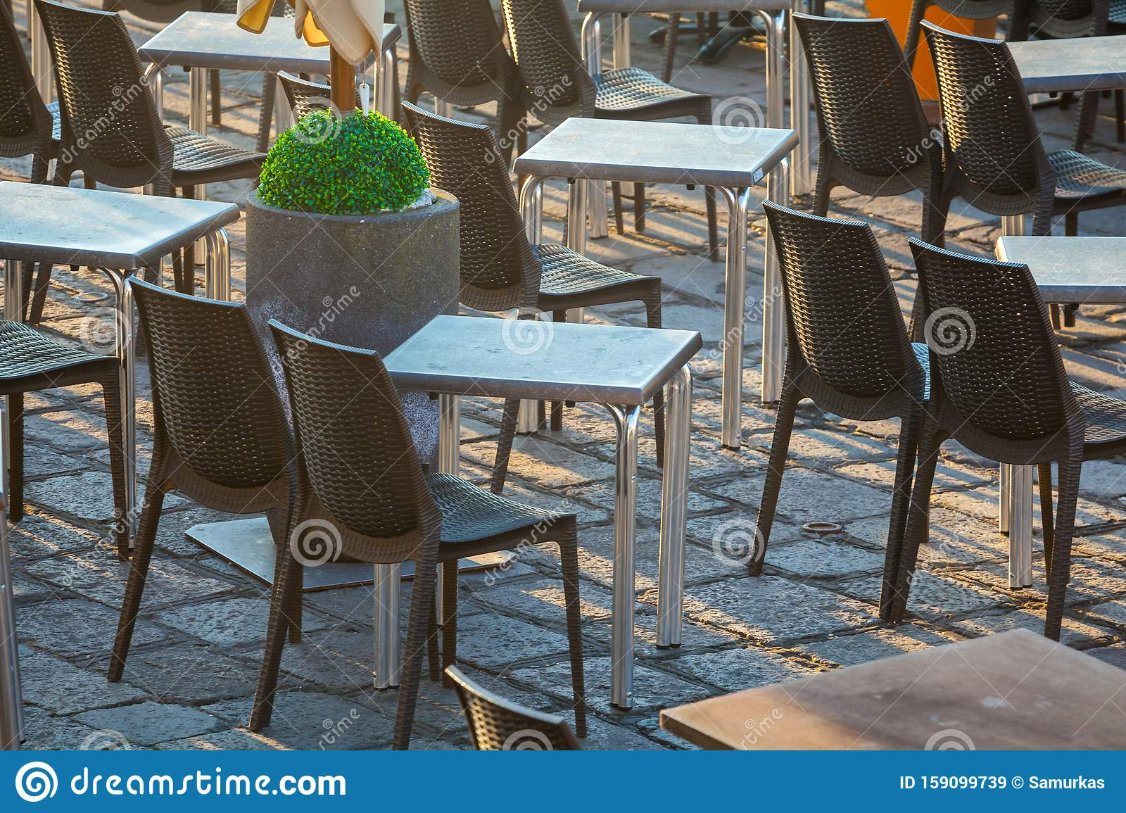 Outdoor Restaurant Table On San Marco Square Venice Italy Stock Image Image Of Outside Morning 159099739