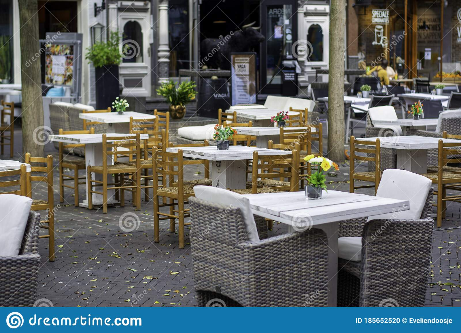 Outdoor Restaurant Terrace With Enough Of Space Between Tables Following The Rules Of Hygiene And Social Distancing Editorial Image Image Of Measurements Europe 185652520