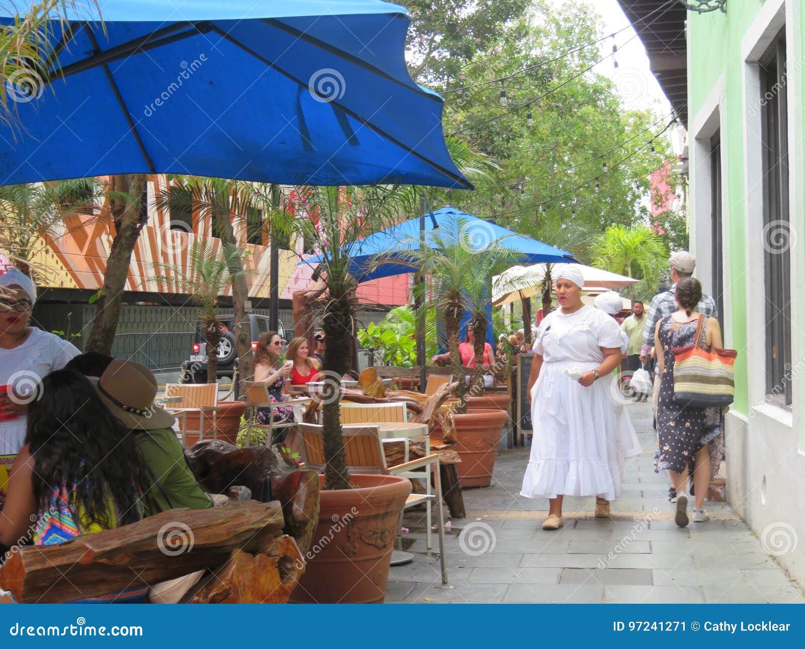 Outdoor Restaurants Along The Streets In San Juan Puerto