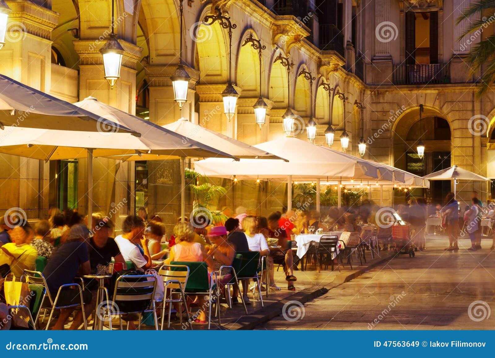 Outdoor Restaurants At Placa Reial In Night Barcelona
