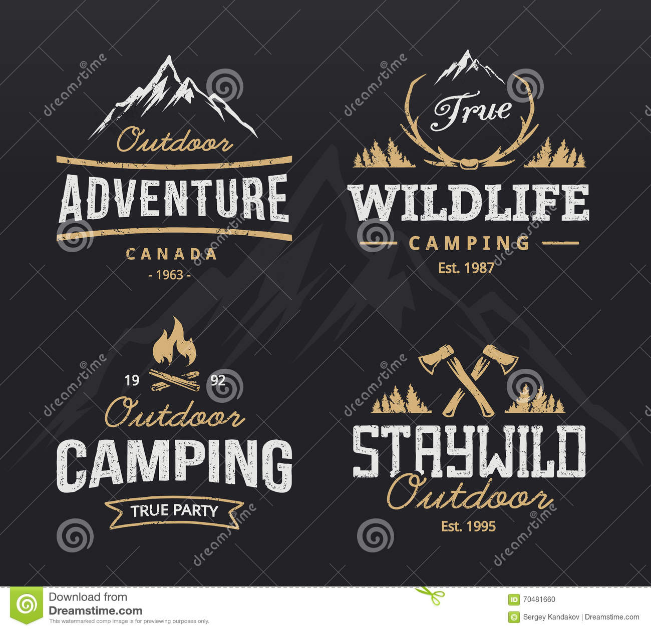 outdoor retro emblems stock vector