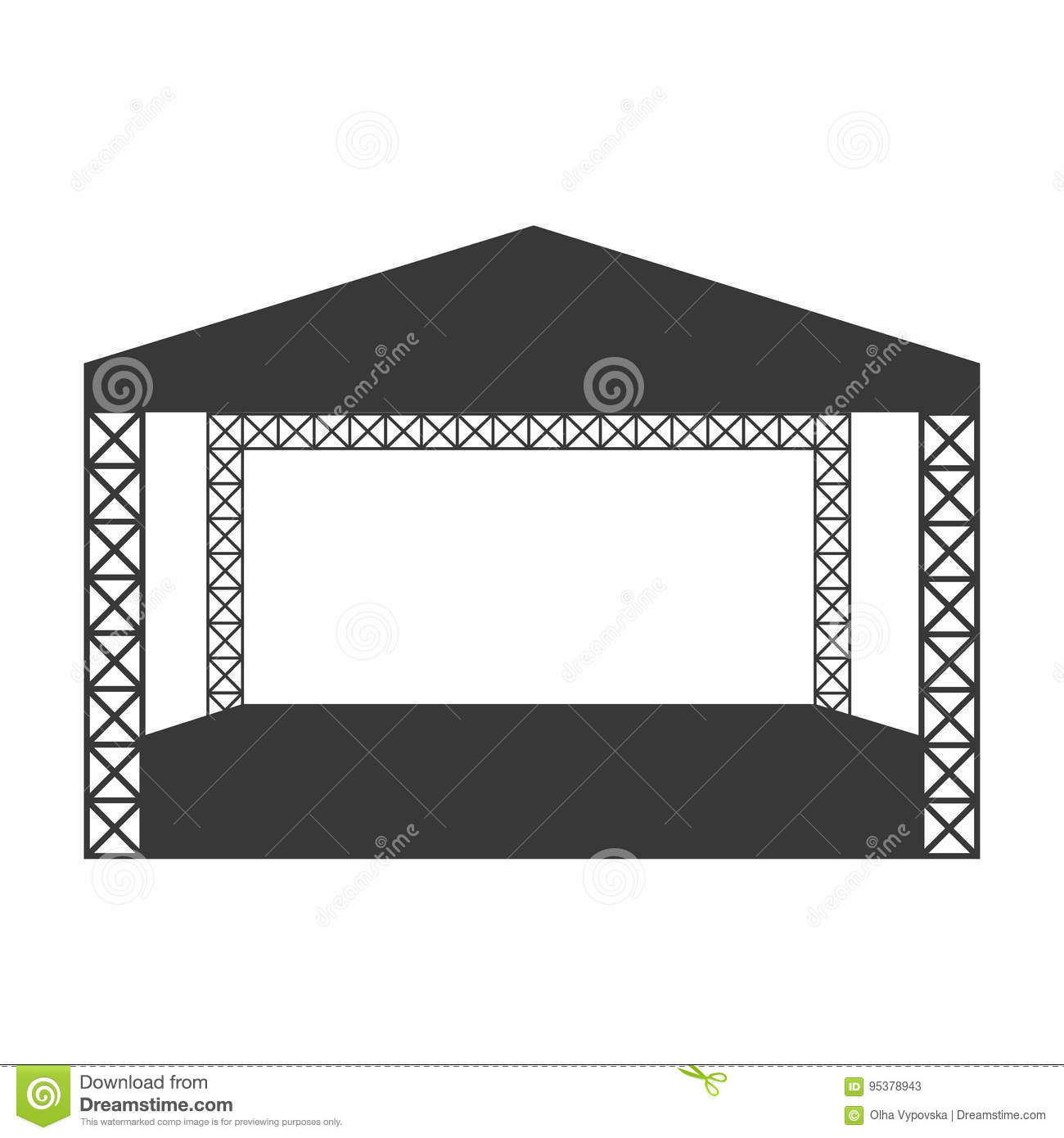 Empty outdoor rock stage - Outdoor Rock Concert Flat Icon Or Logo Template Stock Photos