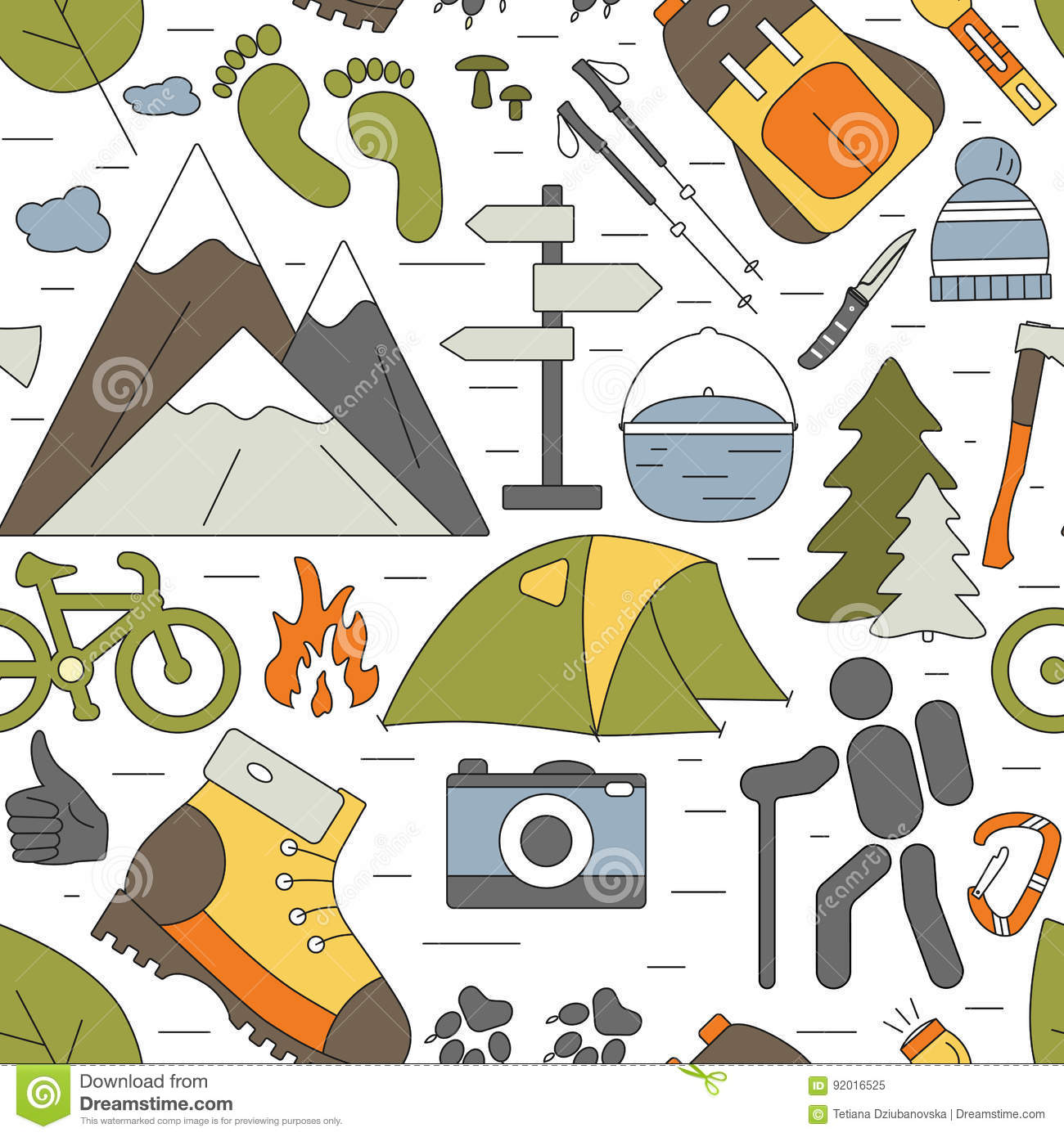 Outdoor seamless background. Hiking and camping icons pattern.