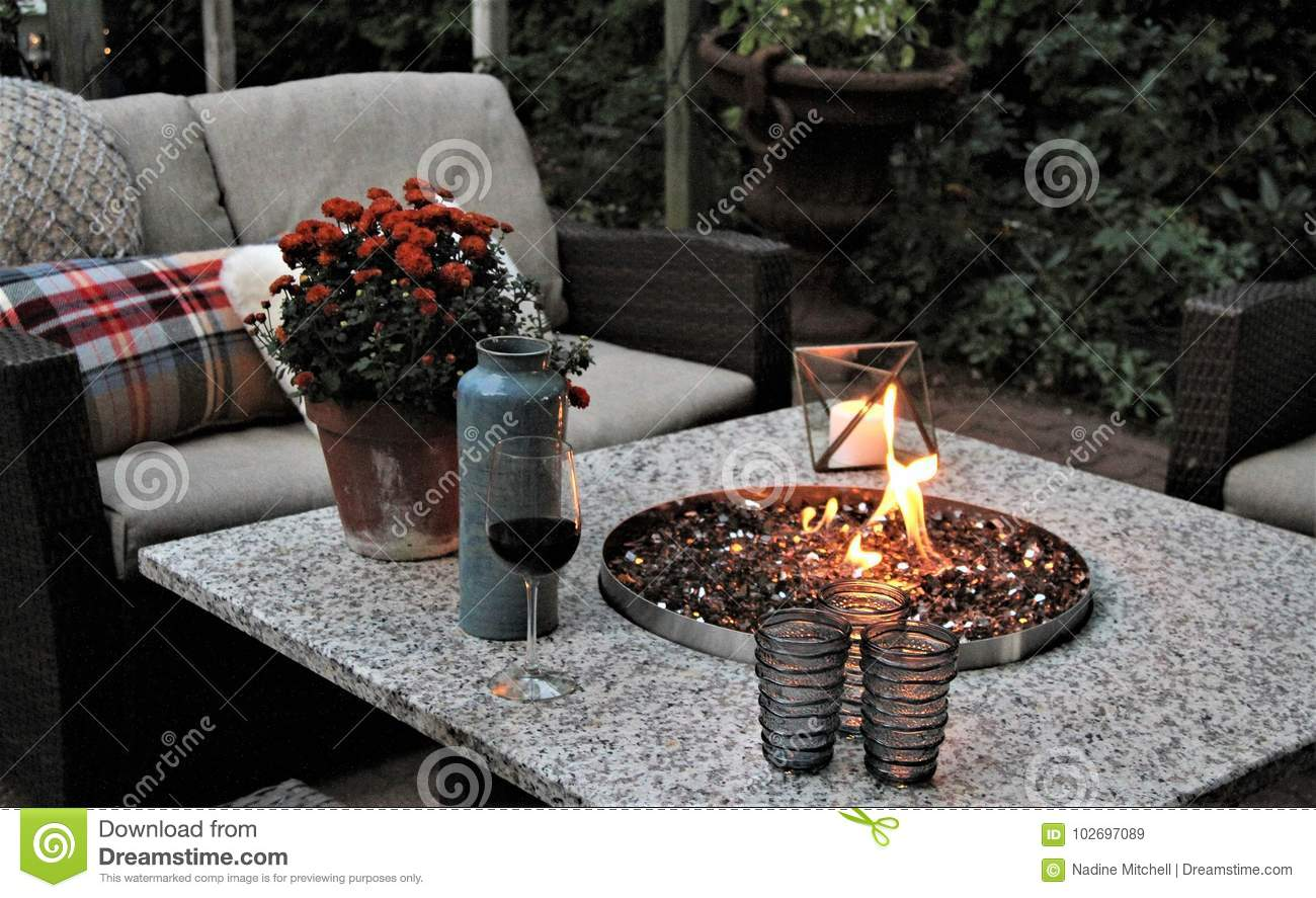 Outdoor Seating Arrangement Around A Gas Fire Pit Table In The Fall Stock Image Image Of Luxury Cosy 102697089