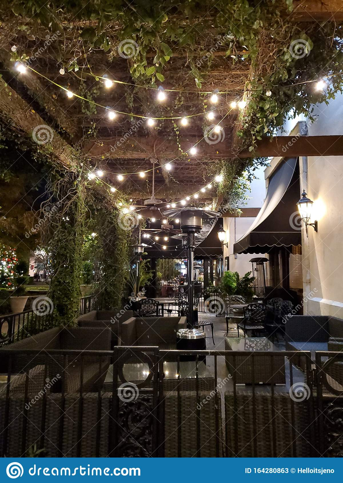 Outdoor Seating At Fancy Restaurant With String Lights Stock Image Image Of Restaurant Outdoor 164280863