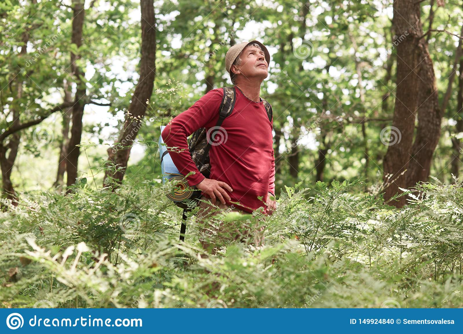 Outdoor shot of eldery man travels with backpack trough forest, backpacker goes along road along wood, has active vocation in