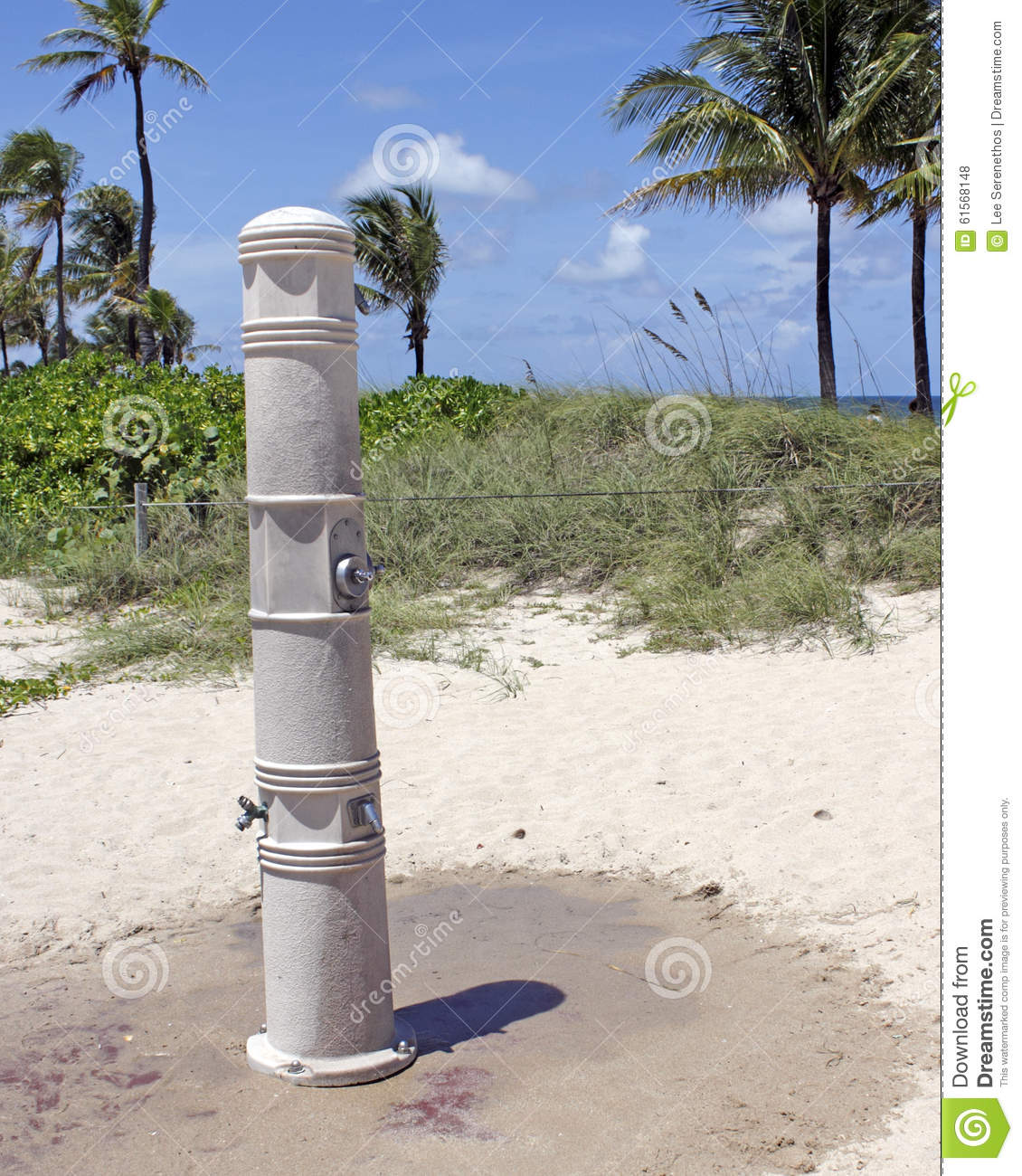 Outdoor shower on a fort lauderdale beach stock photo for Outdoor shower tower