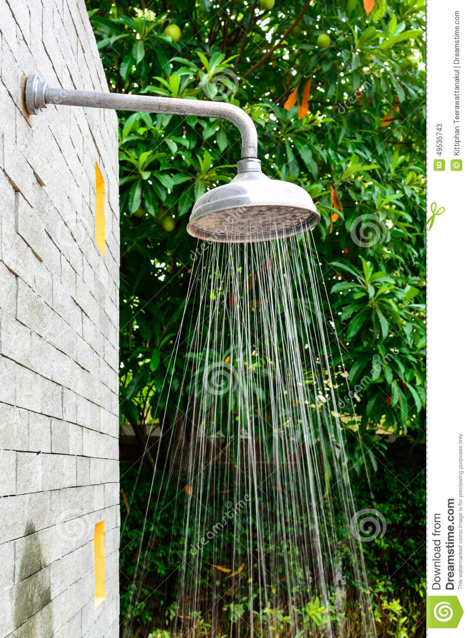 Outdoor shower head stock image. Image of green, clean - 49535743