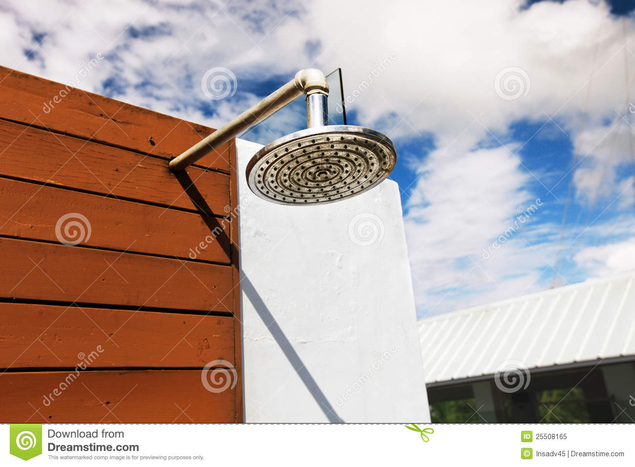 Swimming Pool Showering : Outdoor shower at swimming pool stock image