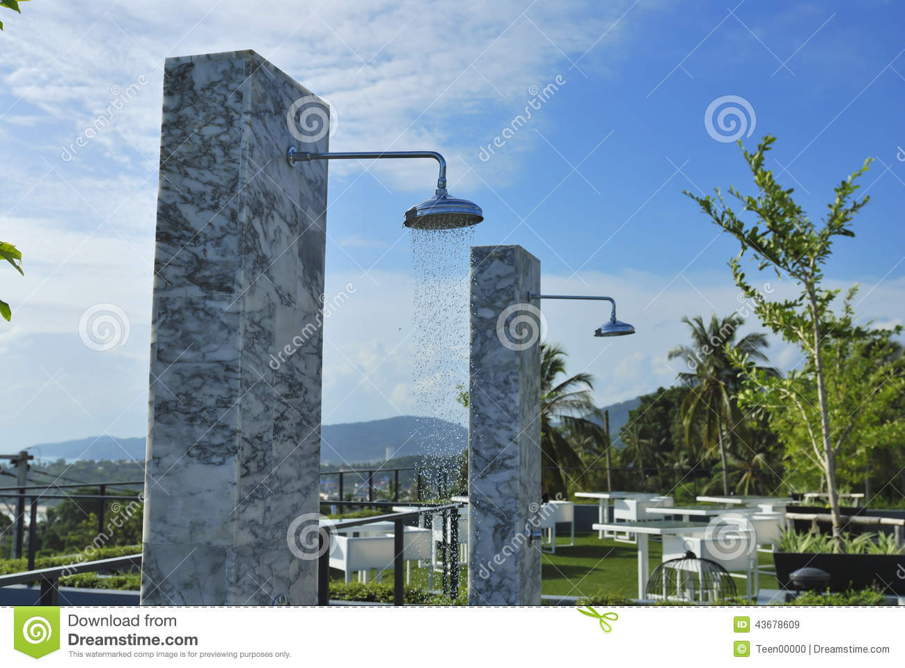 Outdoor Shower At Swimming Pool And Beach Stock Image ...