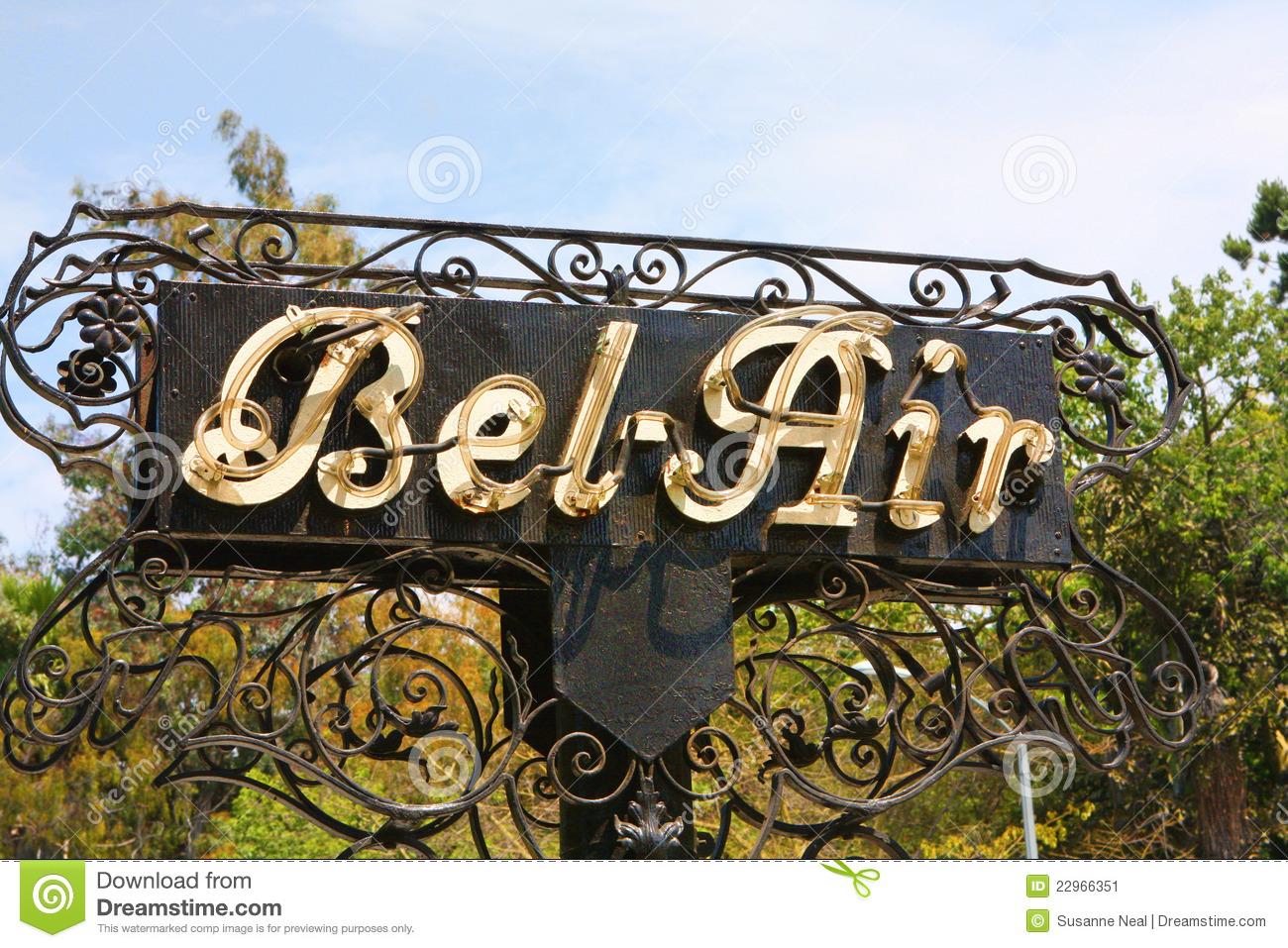 Outdoor Sign Stating Bel Air In California Stock Image