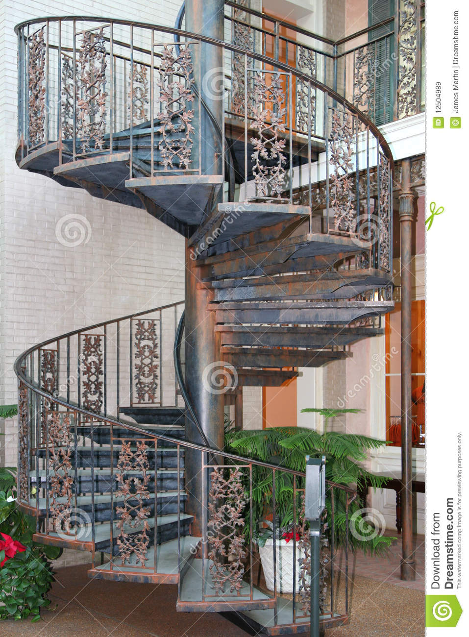 Picture of: Outdoor Spiral Staircase Stock Image Image Of House 12504989