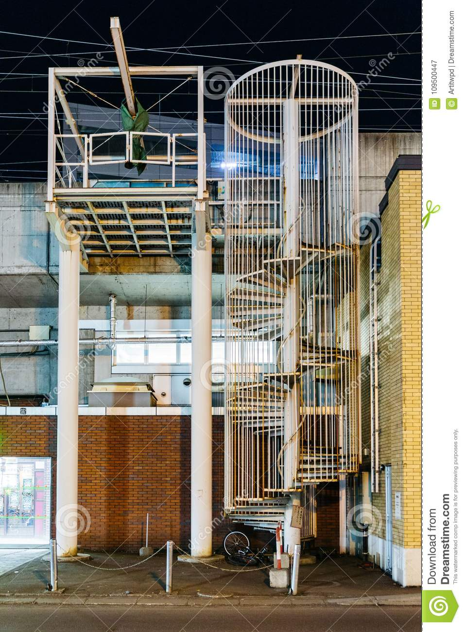Outdoor Spiral Staircases To The Roof Top Of The Building