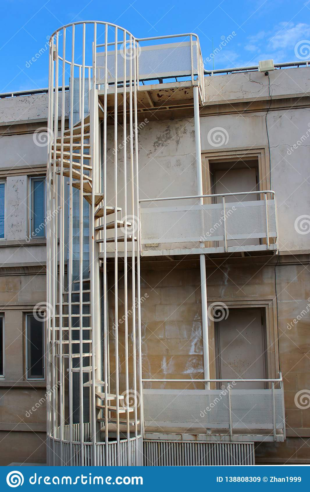Picture of: Outdoor Spiral Stairs Fire Escape On A Building Stock Image Image Of Safe Exterior 138808309