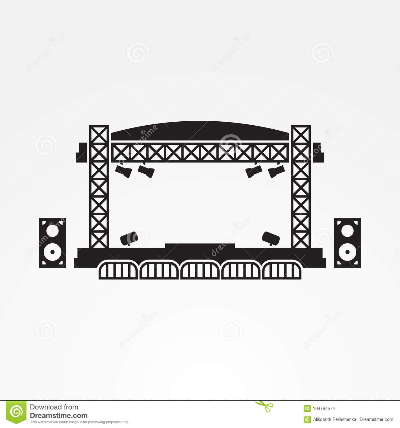 Download Outdoor Stage Vector Icon Stock Illustration Of Empty