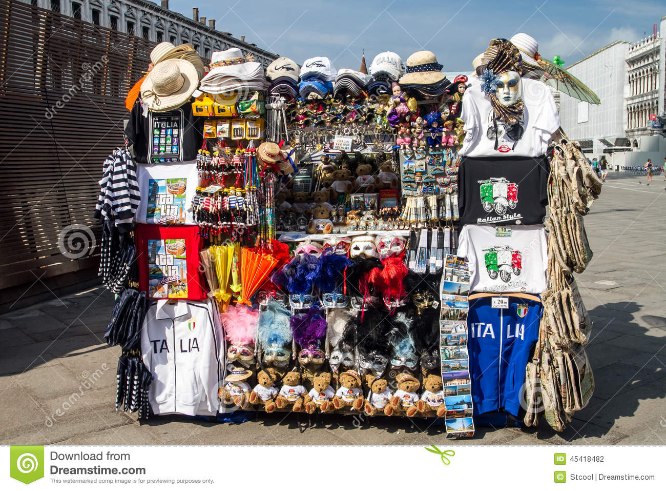 Outdoor Stands Selling Souvenirs In Venice Editorial