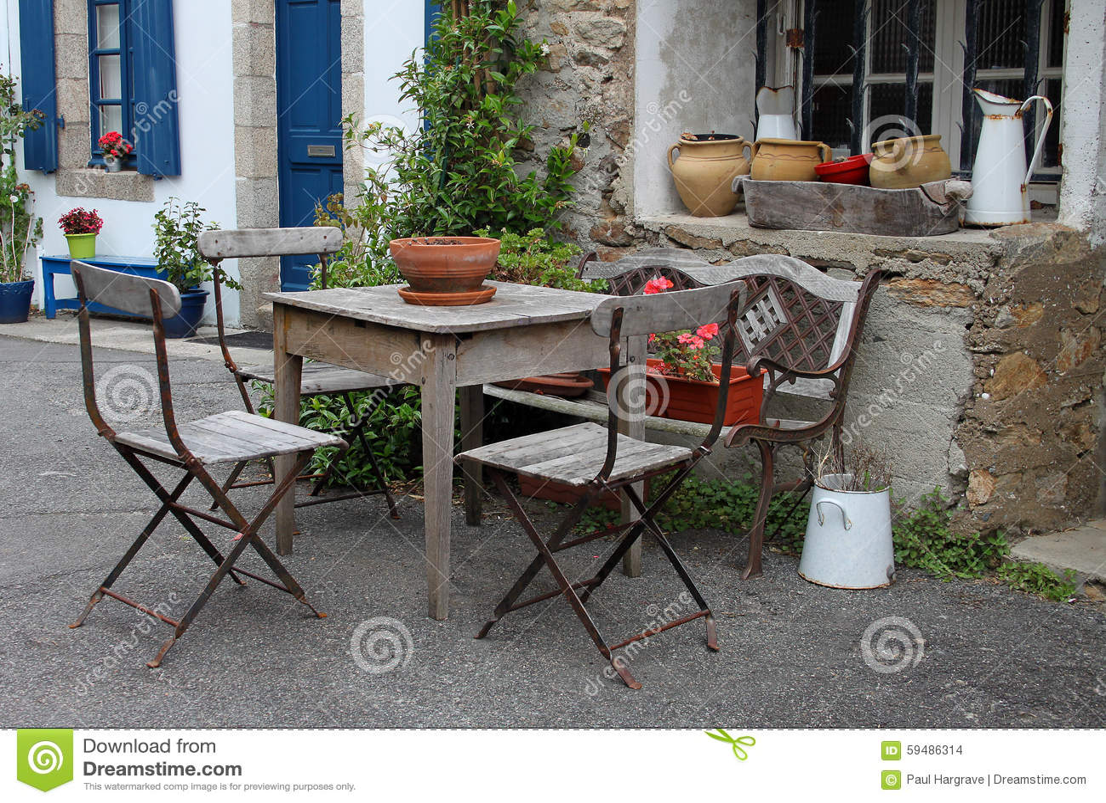 Outdoor Still Life Pots And Jug Stock Photo Image 59486314