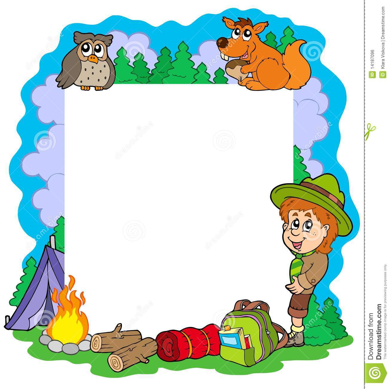 Outdoor Summer Frame Stock Vector Image Of Draw Campsite